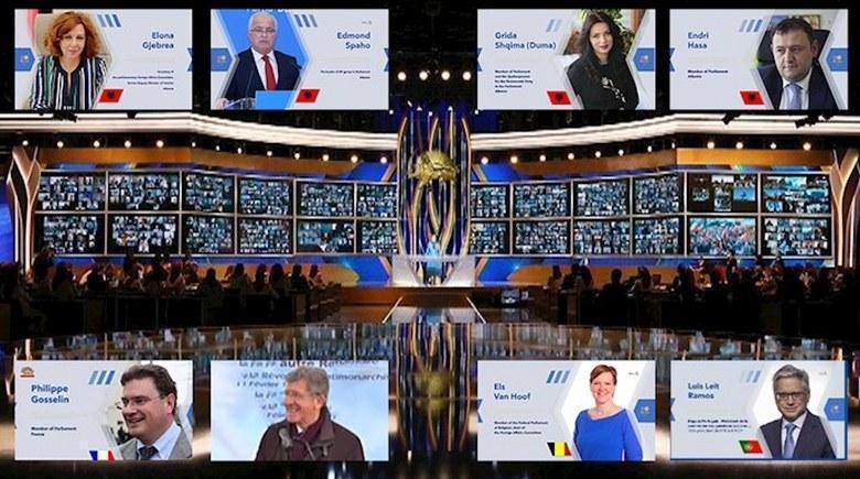گردهمایی جهانی ایران آزاد - فیلیپ گوسلن، فردریک رایس، الس وانهوف، لوئیس لٍیتهراموس، ایلونا جبریا، ادموند اسپاهو، گریدا دوما و اندری هاسا
